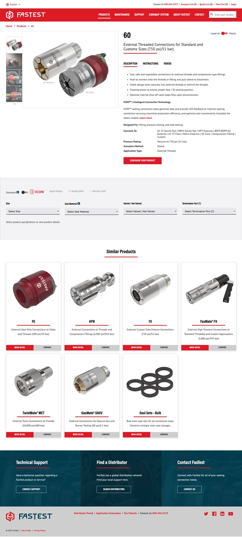 B2B Sealing Connection Tools Manufacturer Web Design FasTest Product Page