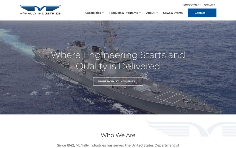 B2B Contractor Web Design Case Study McNally Industries Homepage