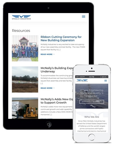 B2B Contractor Web Design Case Study McNally Industries Mobile