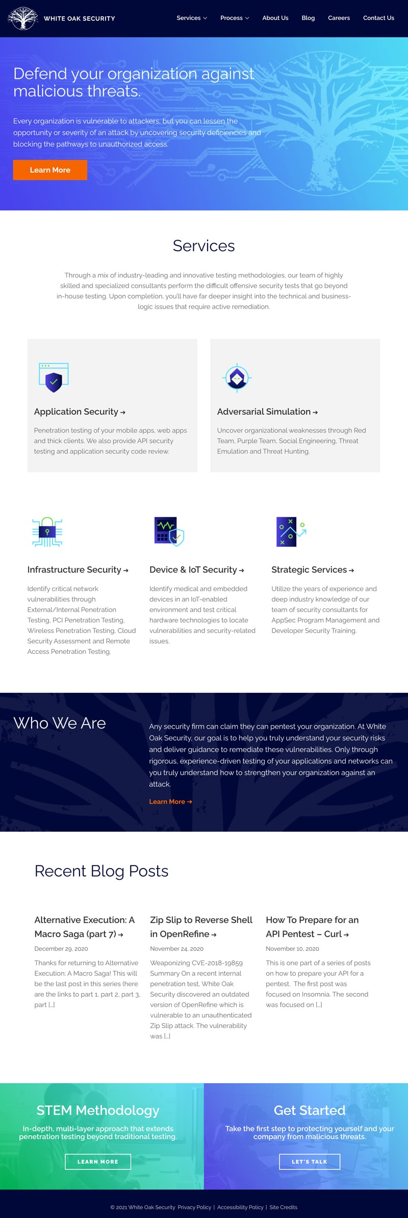 B2B Internet Security Web Design Case Study White Oak Security Interior