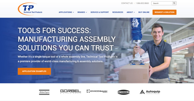 B2B Manufacturing Technical Tool Homepage