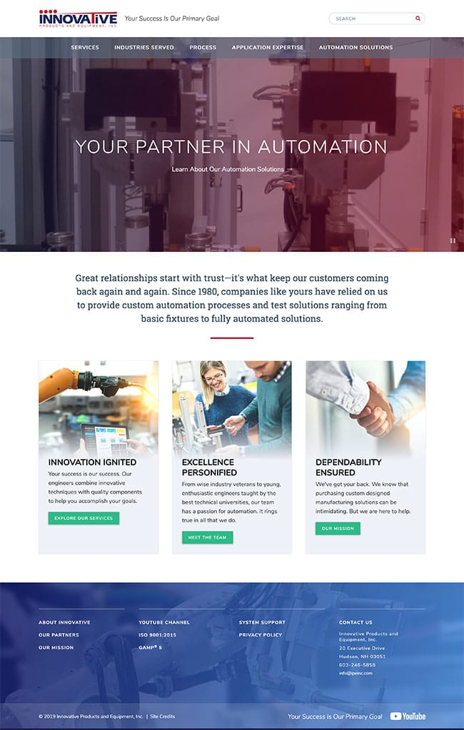 Custom Automation Equipment Web Design Case IPE Interior