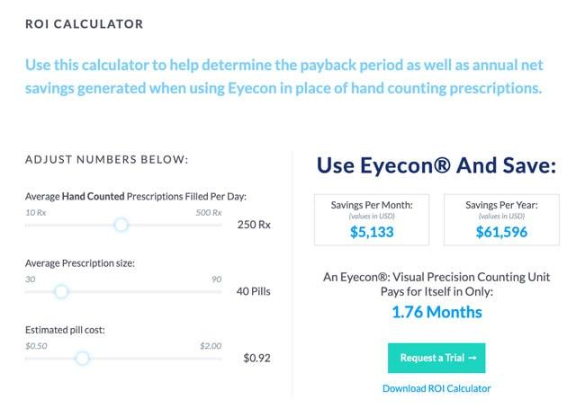 Eyecon Pill Counter Pharmaceutical Website Contact Form Example