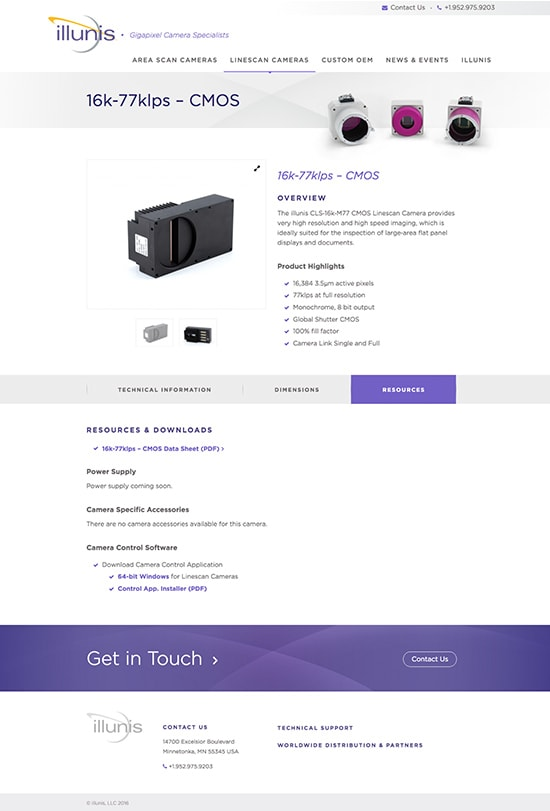 Product page for illunis Gigapixel Camera Specialists