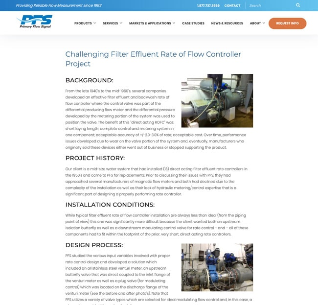 Primary Flow Signal industrial Website Case Study Example