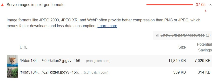 The recommended next-generation image format is WebP